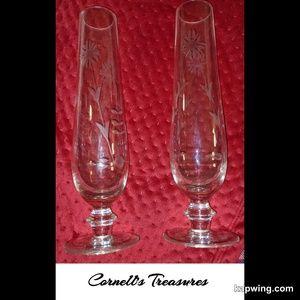 Pair of Vintage Etched Glass Bud Vases